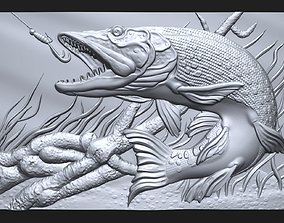 Pike fishing bas relief for CNC 3D print model