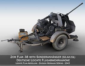 2cm Flak 38 with SD AH 51 - Trailer - DHG 3D model