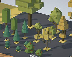 3D model isometric wild garden desert city trees pack