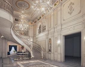 Realistic Reception Hall Classic Design 3d max model