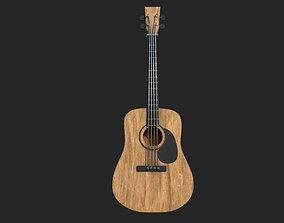 Guitar naturel wood 3D asset
