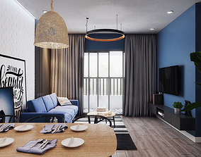 3D Blue and Black Apartment