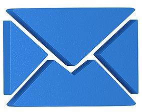 3D model Message Letter Icon bule