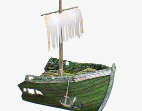 Low Poly Wreck Ship 3D asset