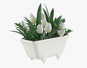 Tulips in mini bath 3D model