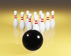3D asset Bowling ball and pins