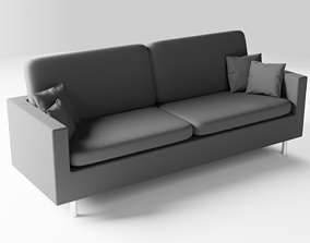Realistic Grey Sofa Couch with Pillows 3D