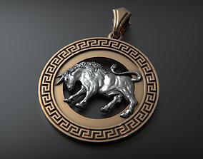 gold 3D printable model Taurus pendant