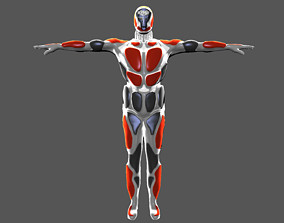 3D asset Character robot figther sci fi rigged