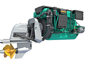 Inboard Outboard Drive Engine 3D