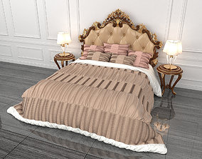 3D European Style Carved Bed 3