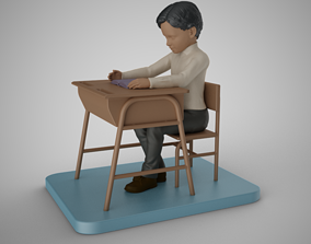 Little Boy Reading a Book 3D printable model