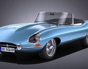3D asset LowPoly Jaguar E-type 1962