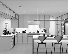 3D Modern Kitchen With Dining Table