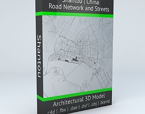 Shantou Road Network and Streets cartography 3D