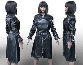 3D Belted Fetish Coat