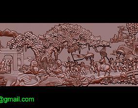 Mural landscape wood carving file stl OBJ 3D print model 3