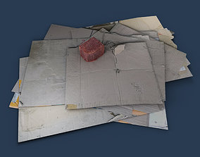 Cardboard Debris 002 - rubbish trash cardboard 3D model 1