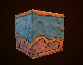 3D model Substance Designer Wall Painted Stylized end 1