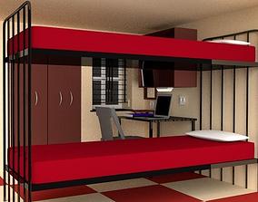 3D model Hostel Bunk Bed Room