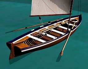3D model Captain Gig Boat 19th Century