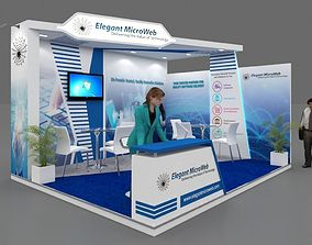 Exhibition stall 3d model 5x4 mtr 2 sides open Elegant