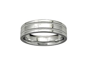 Wedding Band Ring Eternity With Milligrains 3D Model-