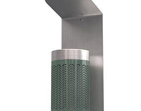 Zigzag wall mounted green ashtray 3D