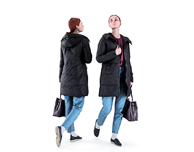3D asset Woman in a black jacket with a bag 94