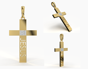 JESUS CROSS DIAMOND PENDANT religious 3D print model