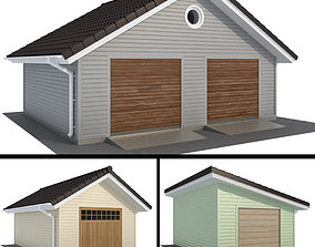 Garage with siding for one and two cars 3D
