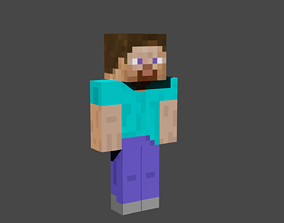 3D model Minecraft steve low-poly rigged