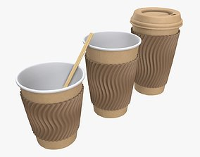 Biodegradable paper coffee cup cardboard lid and 3D model