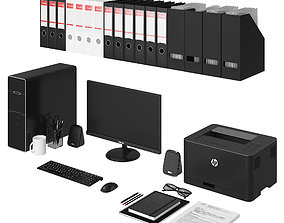 Office black pc set 3D