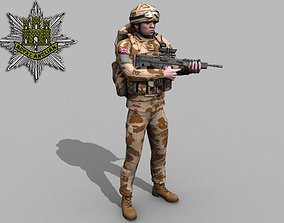 British Royal East Anglian Desert Rigged Soldier 3D
