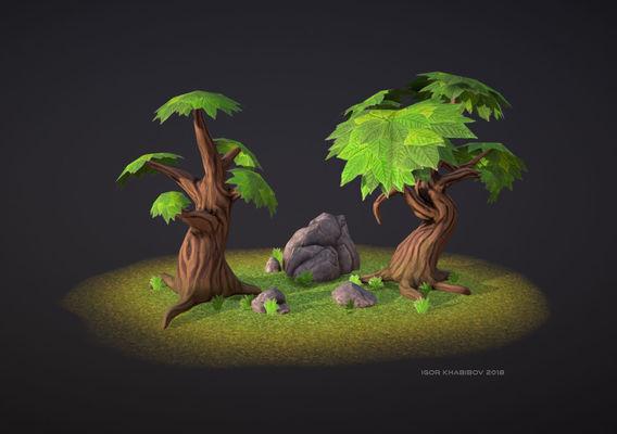 Set of low-poly trees & rocks