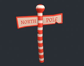3D asset Stylized North Pole Sign
