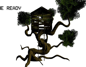 Game Ready Fantasy Tree and Treehouse 3D model