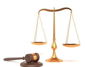 Balance gavel judge justice 3D