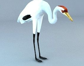low-poly 3d model bird stork