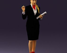 Woman in black suit red shoes 0666 3D Print Ready
