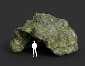 3D model Low poly Cave Modular Mossy Rock Casual10L