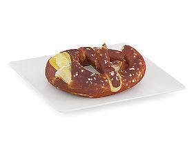 3D Halved Pretzel on White Plate