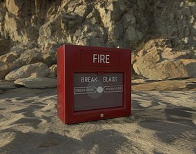 3D model Fire Alarm Break Glass Emergency Button PBR