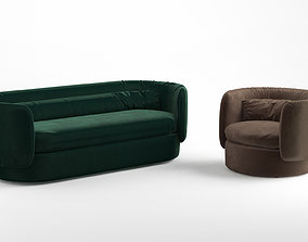 Group sofa and armchair 3D model