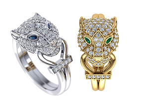 Female ring Leopard ring Cat ring 3dmodel