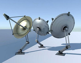 Rigged satellite dishes 3D asset