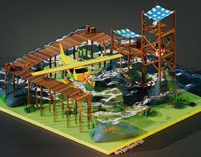 Stylized Seaplane And Sea Shack 3D model