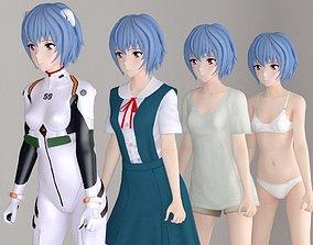 3D Rei Ayanami anime girl pose 01
