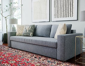 3D asset Gray Fabric Sofa With Knitted Pillows